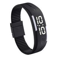 Buy LED Digital Watches Jelly Men Black Wristwatch Magnet Buckle Clock online