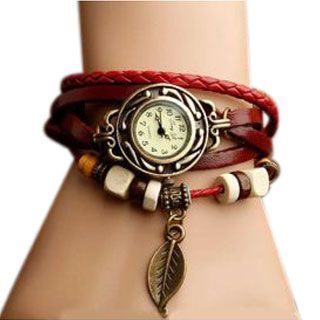 Buy Unique Leather Bracelet Vintage Star Women Wrist Watch online