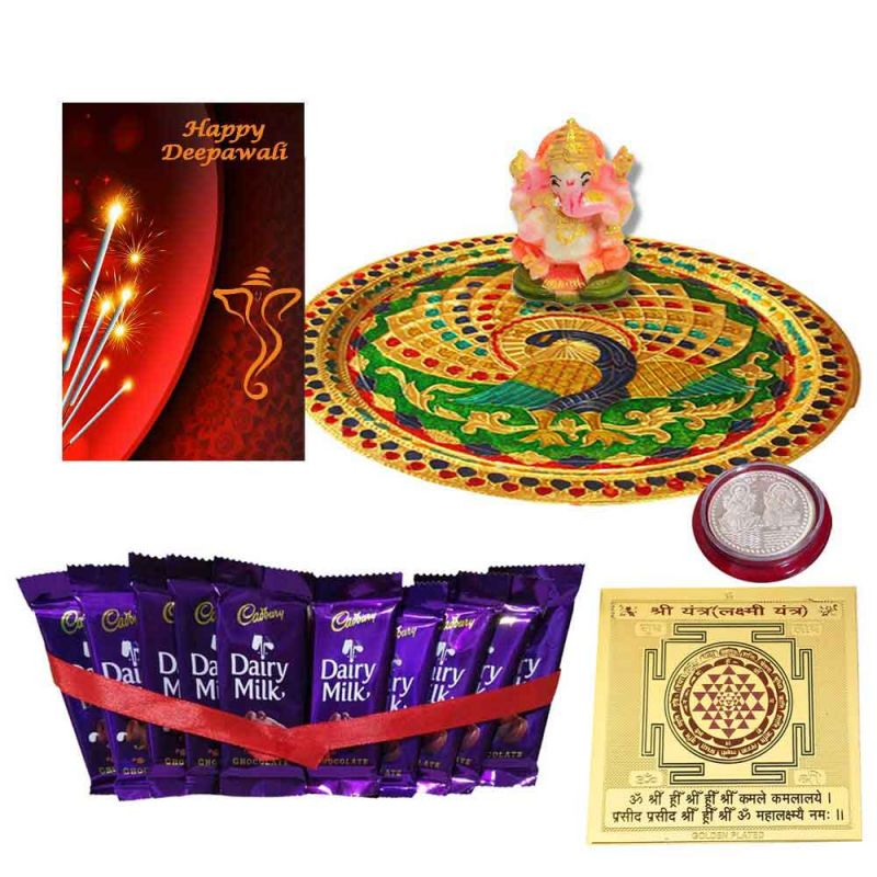 Buy Diwali Thali Hamper Minakari Pooja Thali With Cadbury Dairy Milk Chocolate With Ganesh Idol N Coin online