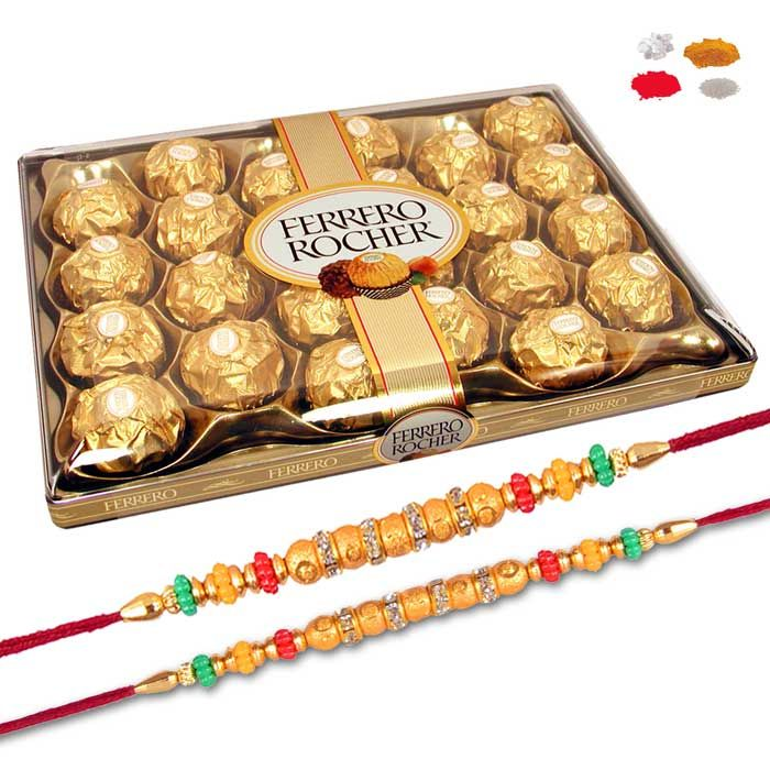 Buy Premium Rakhi Chocolate Hampers For Brother - Bracelet Rakhis With 24 PC Ferrero Rocher Chocolates Free Shipping India online