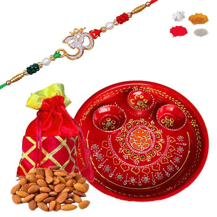 Buy Rakhi Thali And Dry Fruit Hamper - Designer Om Rakhi With Fancy Batava And Dry Fruite Gifts For For Brother online