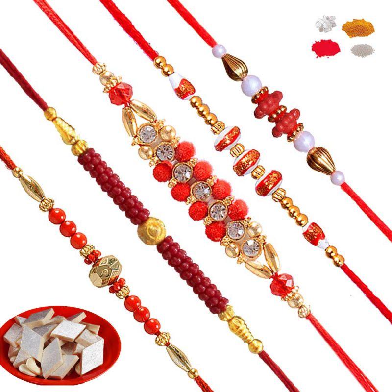Buy Rakhis Set Online - Send 5 Rakhi Set Of Bead Bracelet Rakhis 2017 online