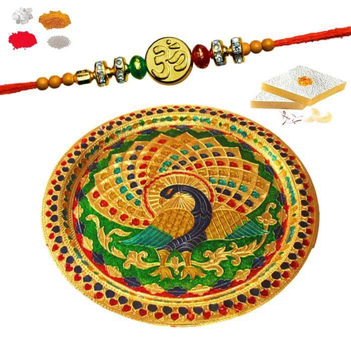Buy Rakhi Thali Hamper - Maalpani Om Rakhi With Minakari Thali Hamper - Gift Set For Brother 2017 online