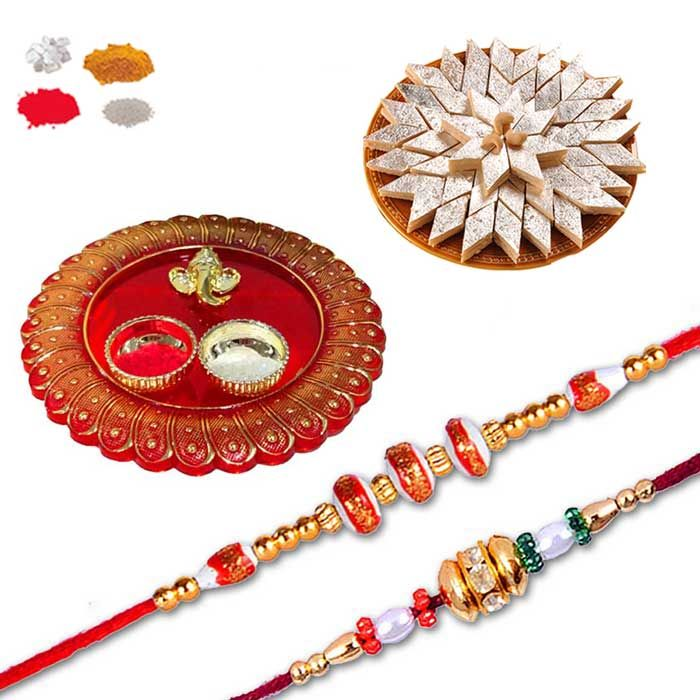 Buy Rakhi Gift Hamper With Thali And Sweets For Brother - Send 2 Rakhi With Ganesh Puja Thali Online India online