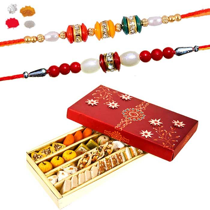 Buy Send Rakhi Sweets - Delicious Kaju Mix Sweet With Set Of 2 Bead Rakhi For Brother online