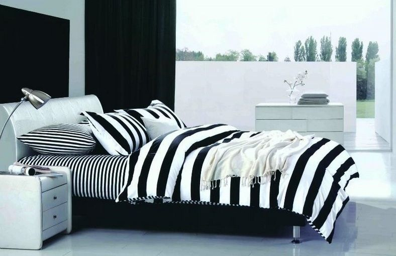Buy Welhouse India Black U0026 White Stripes Double Bed Sheet With 2 Pillow  Covers Online