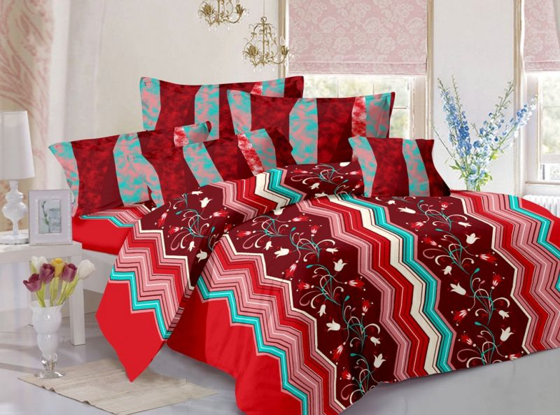 Buy Welhouse India Cotton Floral Maroon Double Bedsheet with 2 Contrast Pillow Covers online