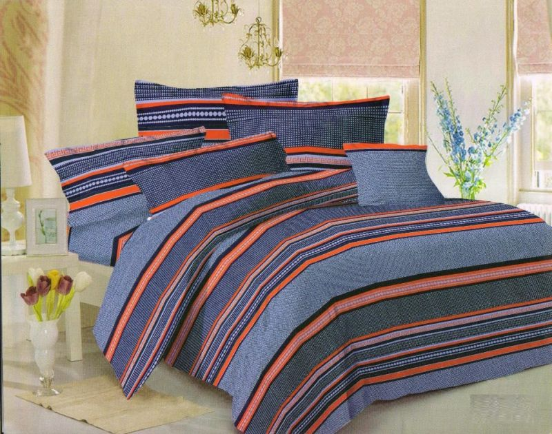 Buy Welhouse India Cotton Stripes Multi Double Bedsheet with 2 Contrast Pillow Covers online