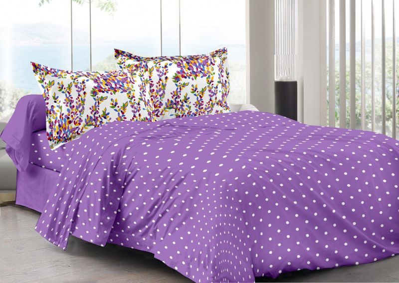 Buy Welhouse Purple & Polka Design 100% Organic Double Bedsheet with 2 CONTRAST Pillow Cover online