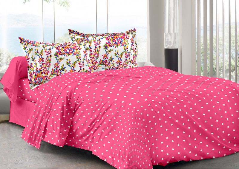 Buy Welhouse Pink & Polka Design Skin Friendly Double Bedsheet with 2 CONTRAST Pillow Cover online