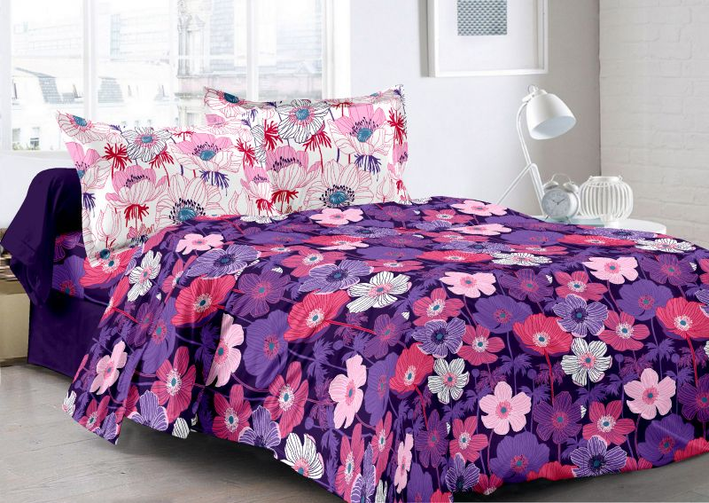 Buy Welhouse Purple & Floral Design 100% Cotton Double Bedsheet with 2 CONTRAST Pillow Cover online
