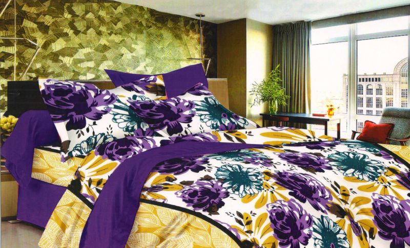 Buy Welhouse Floral Blue Cotton King Size Bedsheet & 2 Pillow Covers online