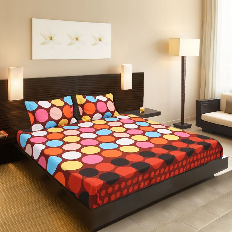 Buy Welhouse India Beautiful Design 1 Double Bedsheet & 2 Pillow Covers online