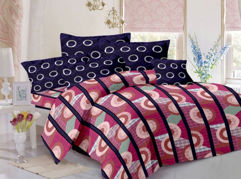 Buy Welhouse Cotton Stripes Pink Double Bedsheet With 2 Contrast Pillow Covers(tc-129) online