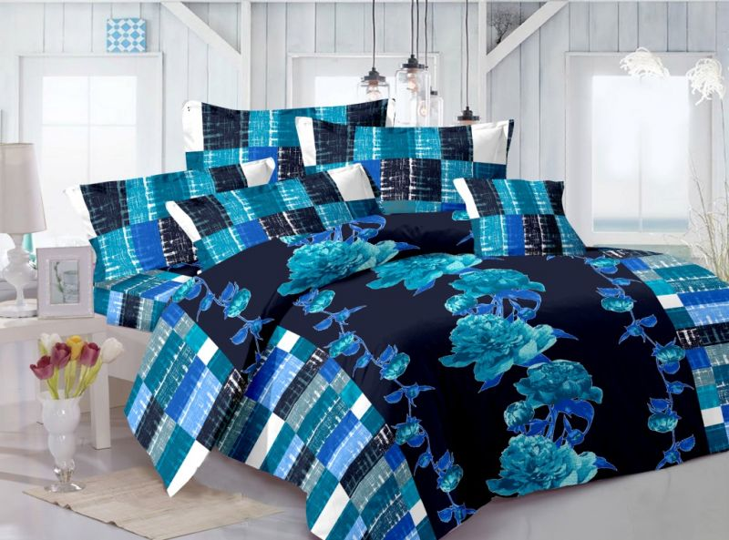 Buy Welhouse Cotton Floral Blue Double Bedsheet With 2 Contrast Pillow Covers(tc-129) online