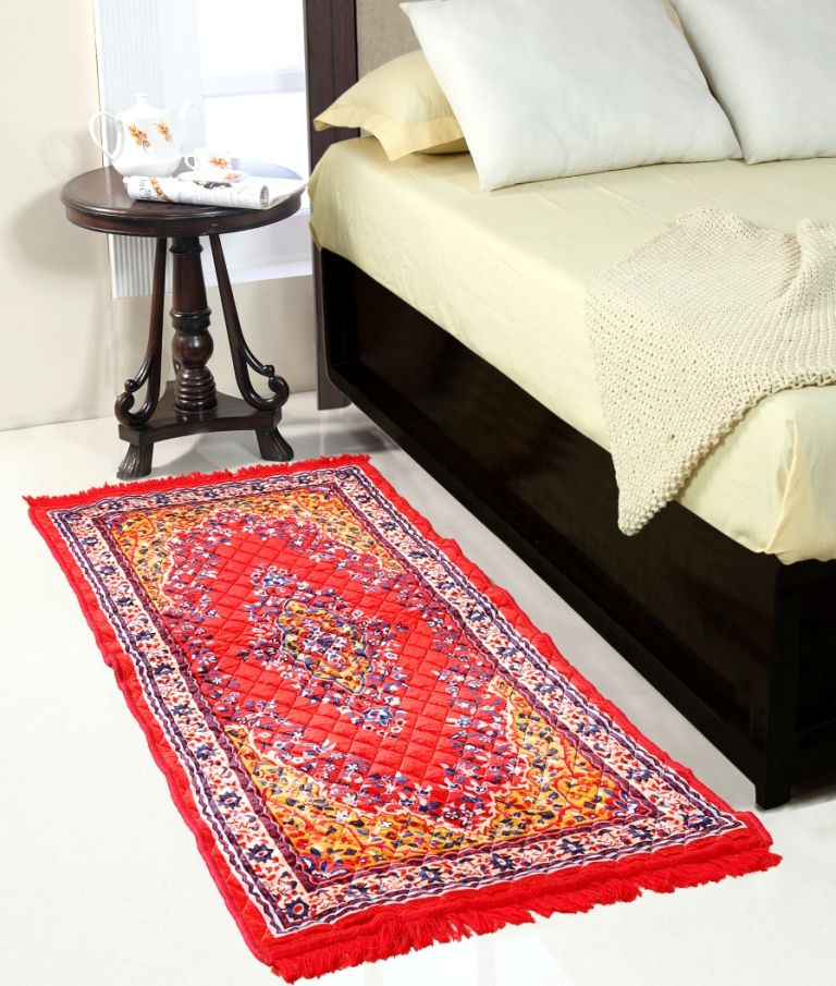 Buy Welhouse India Red Colour Traditional Runner Mat online