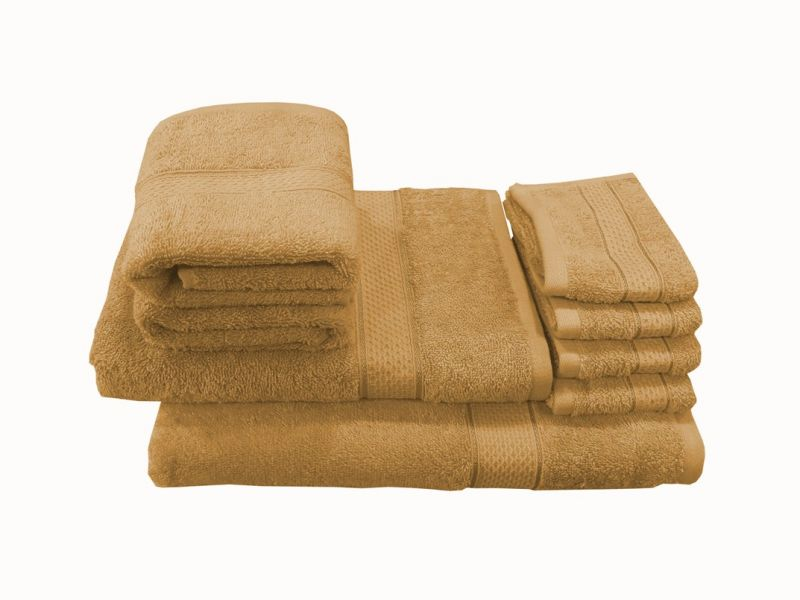 Buy Welhouse India Family Pack 8 Piece Cotton Towels Set - Brown online
