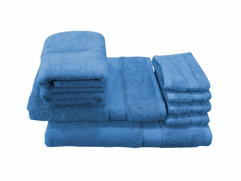 Buy Welhouse India Family Pack 8 Piece Cotton Towels Set - Neon Blue online