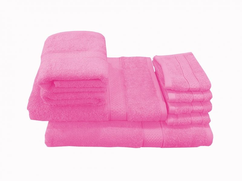 Buy Welhouse India Family Pack 8 Piece Cotton Towels Set - Pink online