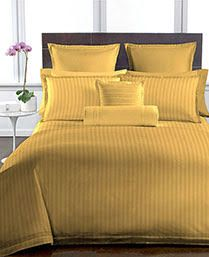 Buy Welhouse Mustered Colour Stripes Design 1 Double Bedsheet with 2 Pillow Covers online
