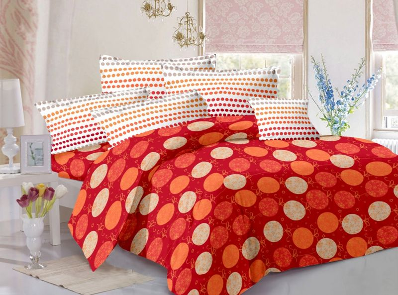 Buy Welhouse Cotton Polka Red Double Bedsheet with 2 Contrast Pillow Covers online