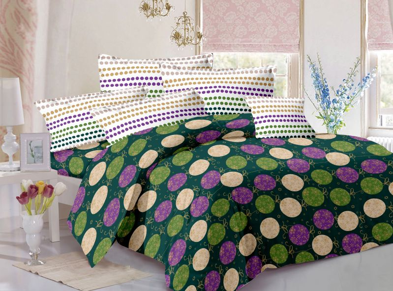 Buy Welhouse Cotton Floral Blue Double Bedsheet with 2 Contrast Pillow Covers online