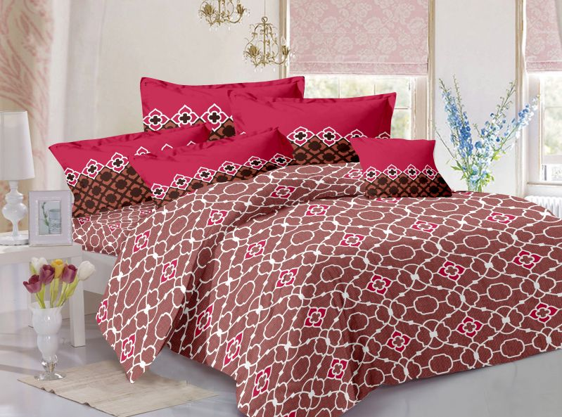 Buy Welhouse Cotton Floral Grey Double Bedsheet with 2 Contrast Pillow Covers online