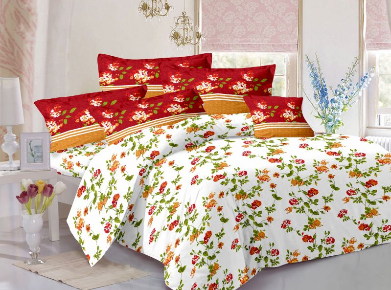 Buy Welhouse Cotton Floral Red Double Bedsheet with 2 Contrast Pillow Covers online