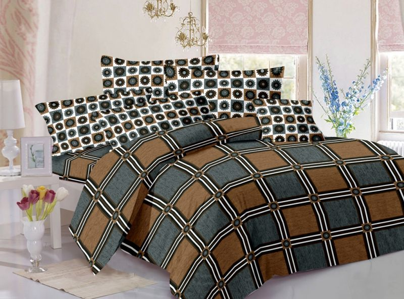 Buy Welhouse Cotton Checkered Grey Double Bedsheet with 2 Contrast Pillow Covers online