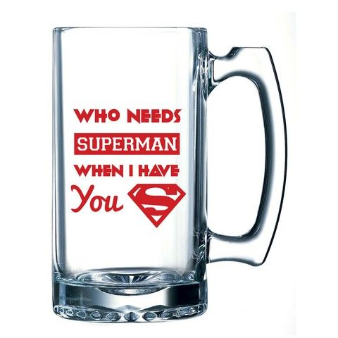 Buy 10 am Who needs Superman Beer Mug online