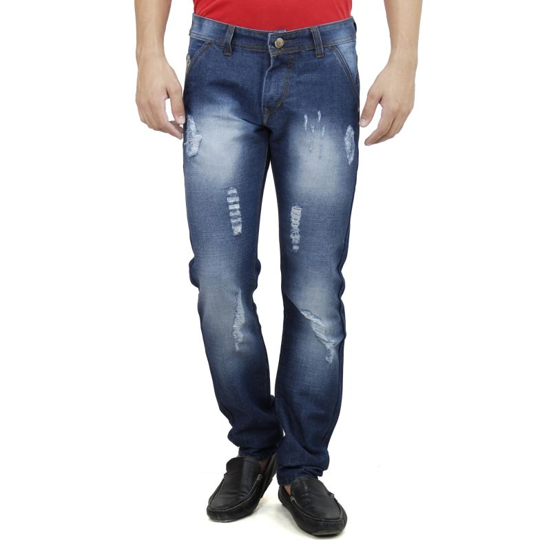 Buy Savon Mens Slim Fit Blue Distressed Denim Jeans For Men With Elegant Embroidery (product Code - Sh507111b-01) online