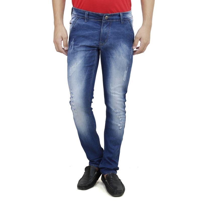 Buy Savon Mens Slim Fit Trouser Shape Stretch Blue Denim Jeans For Men (product Code - Sh507115-01) online