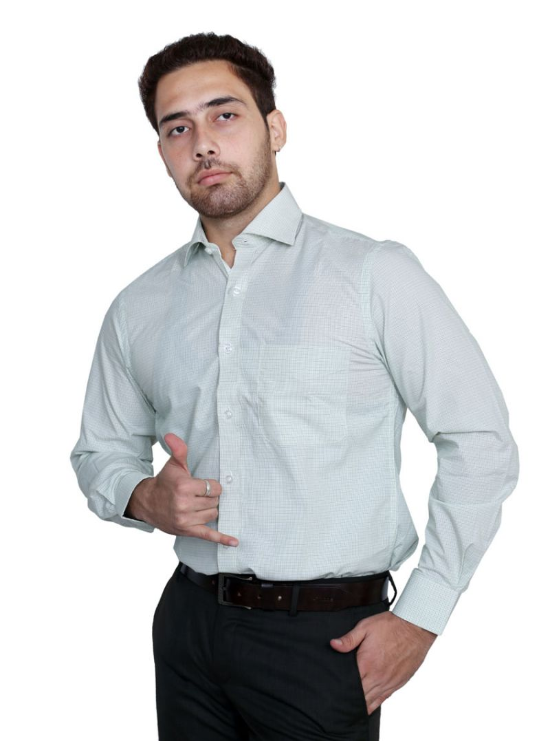 Buy Iq Pure Cotton Green Shirt For Men online
