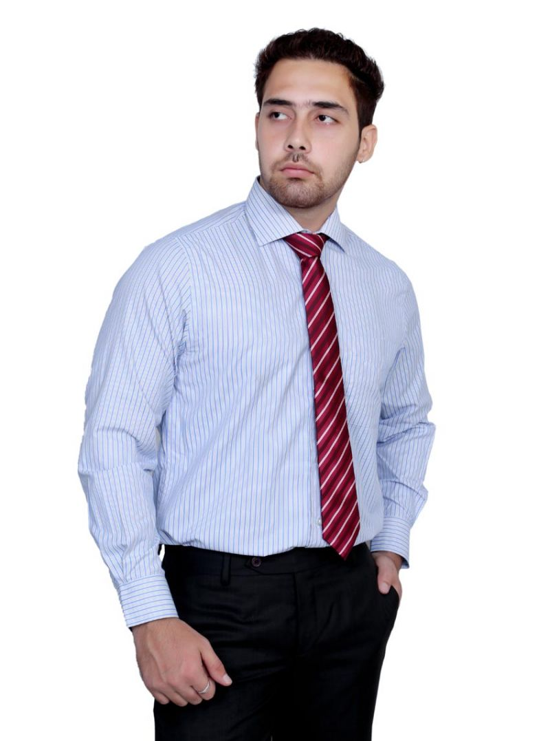 Buy Iq Pure Cotton Skyblue Shirt For Men online