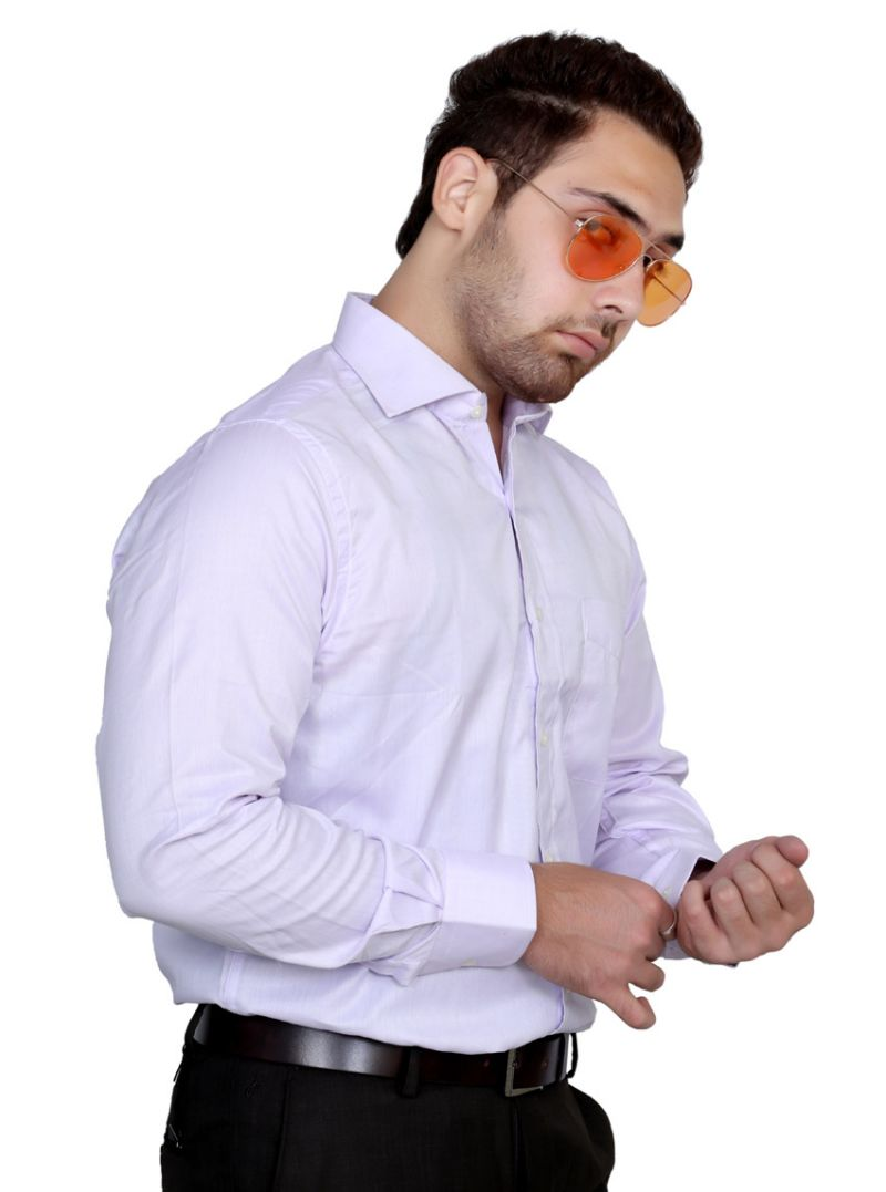 Buy Iq Pure Cotton Purple Shirt For Men online