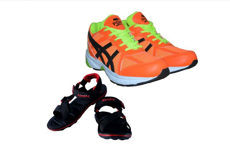Buy Port Striker Orange Green Men's Sports Shoes Combo (aircity Men's Sandal Sandal) online