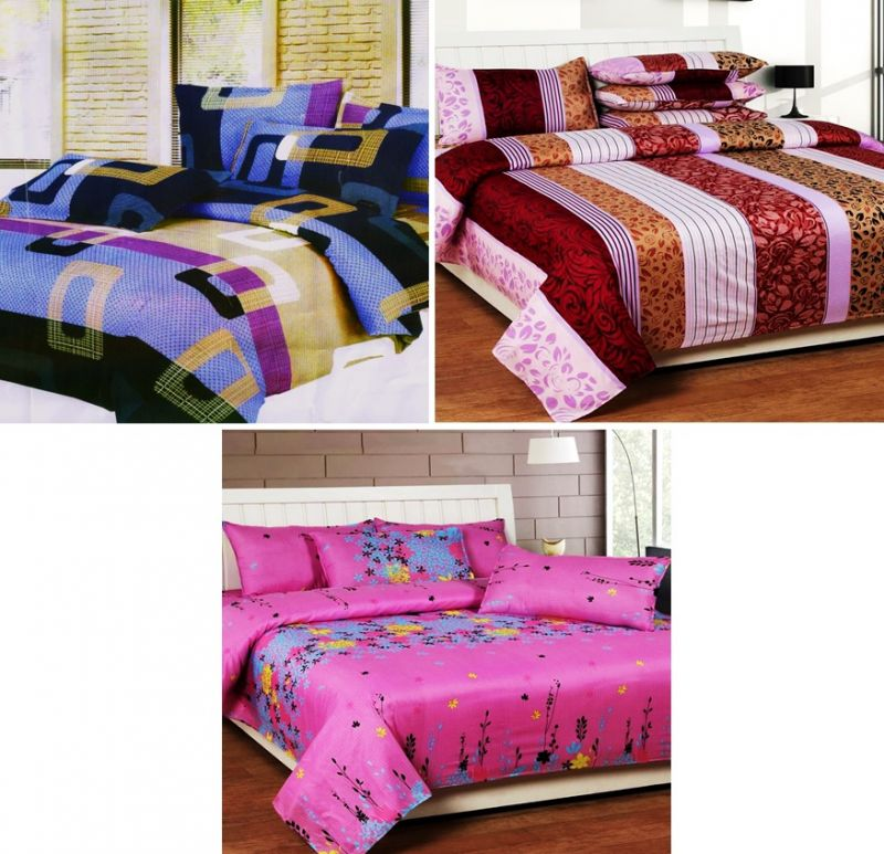 Buy Sai Arpan's Set Of 3 Double Bed Sheet Combo online