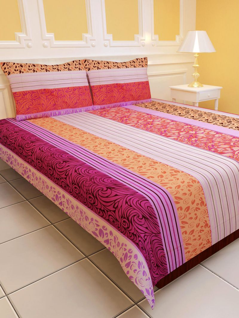 Bed sheets with price - Buy Sai Arpan S Polycotton Double Bed Sheet With Pillow Covers D No 1154 Online