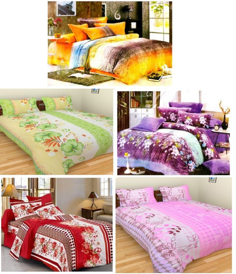Buy Sai Arpan's Set Of 5 Premium Bed Sheets Combo-4 online