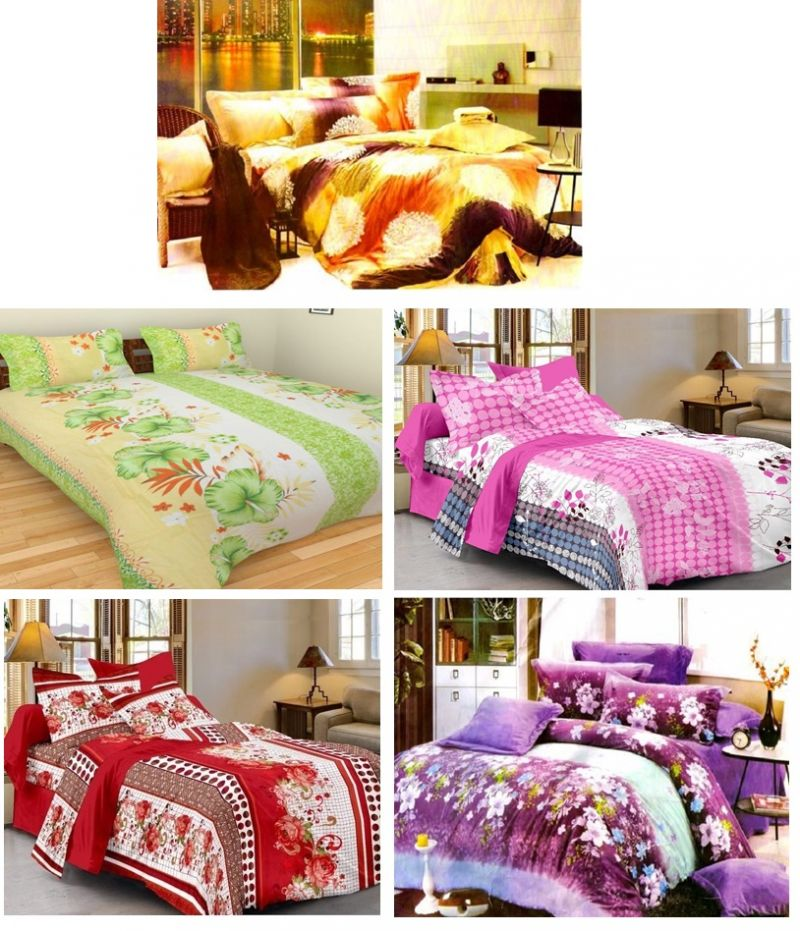 Buy Sai Arpan's Set of 5 Premium Bed Sheets Combo-5 online