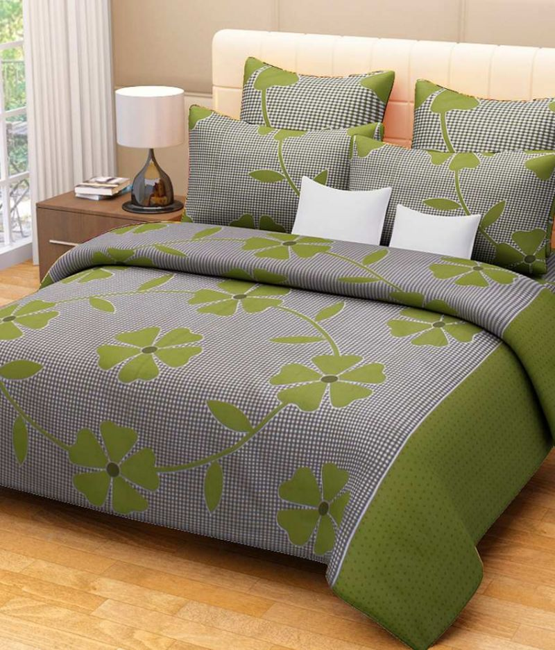 Buy Sai Arpan's Green Cotton Double Bed Sheet With Pillow Covers online