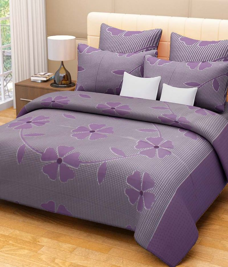 Buy Sai Arpan's Puprle Cotton Double Bed Sheet With Pillow Covers online