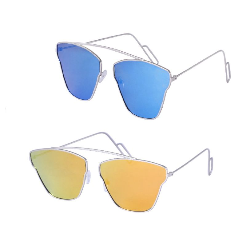 Buy Combo Of Fast Fox Blue And Orange Aviator Sunglasses online