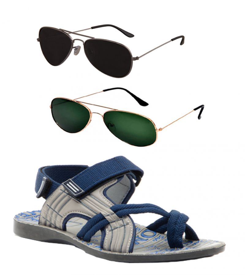 Buy Combo Of Provogue And Fastfox Stylish & Attractive Blue And Grey Floater Sandals And Two Aviators online