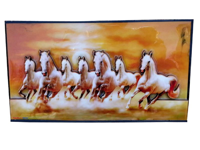 Buy Productmine Home Decor Running 7 Horses With Vastu Sunrise Wall Hangings 3d Frame Showpiece online