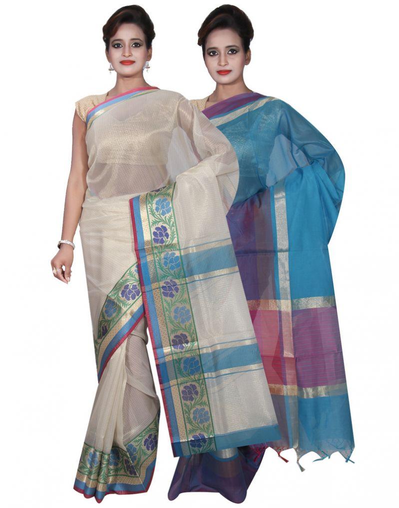 Buy Banarasi Silk Works Party Wear Designer Blue & Cream Colour Cotton Combo Saree For Women's(bsw10_12) online