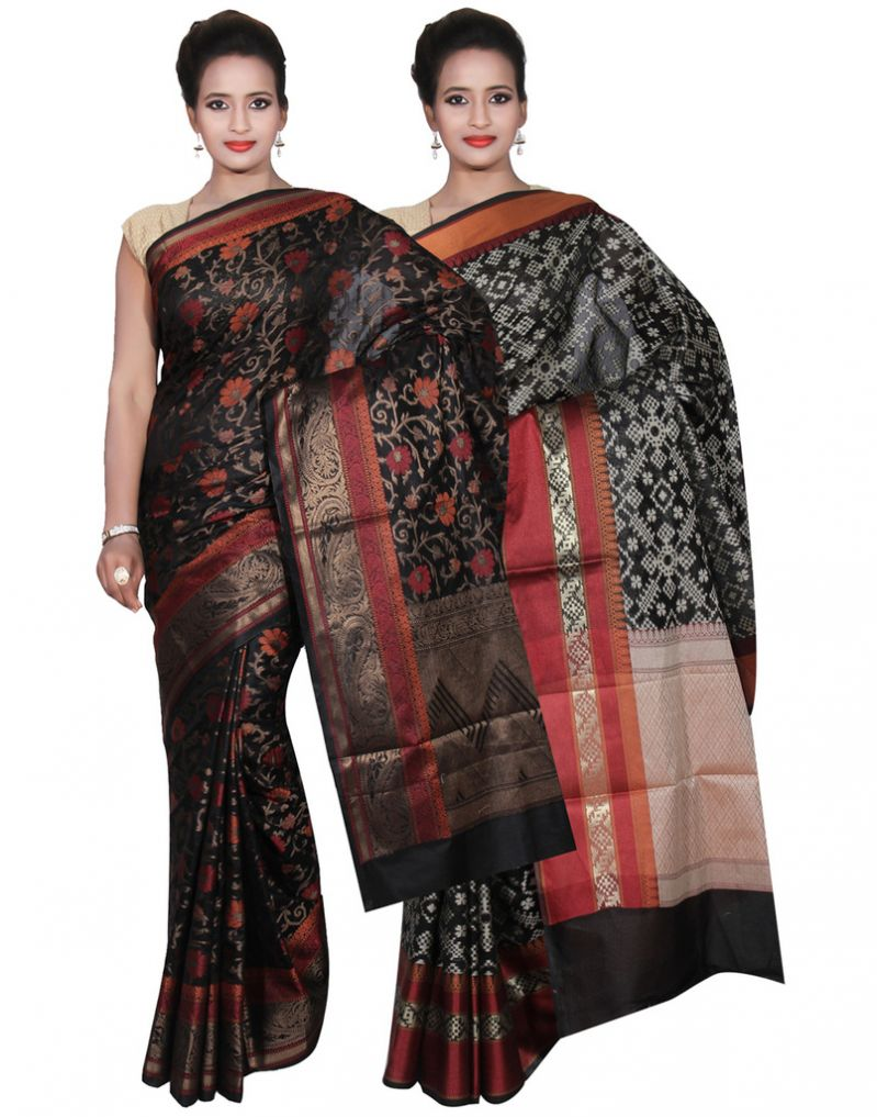 Buy Banarasi Silk Works Party Wear Designer Black & Black Colour Cotton Combo Saree For Women's(bsw40_41) online