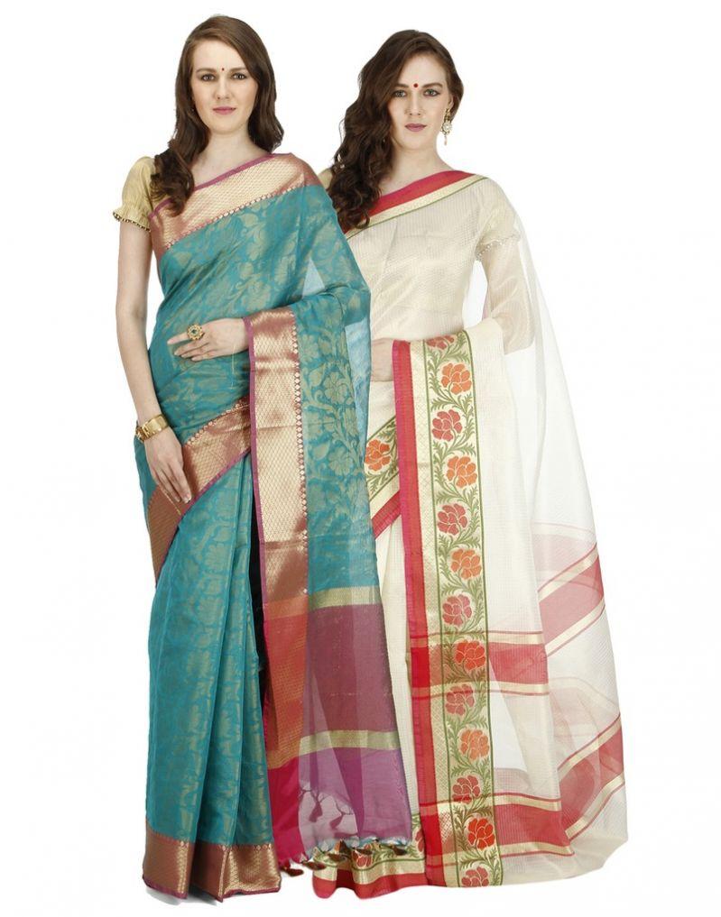 Buy Banarasi Silk Works Party Wear Designer Multi Colour Combo Saree For Women's(bsw1040_59) online