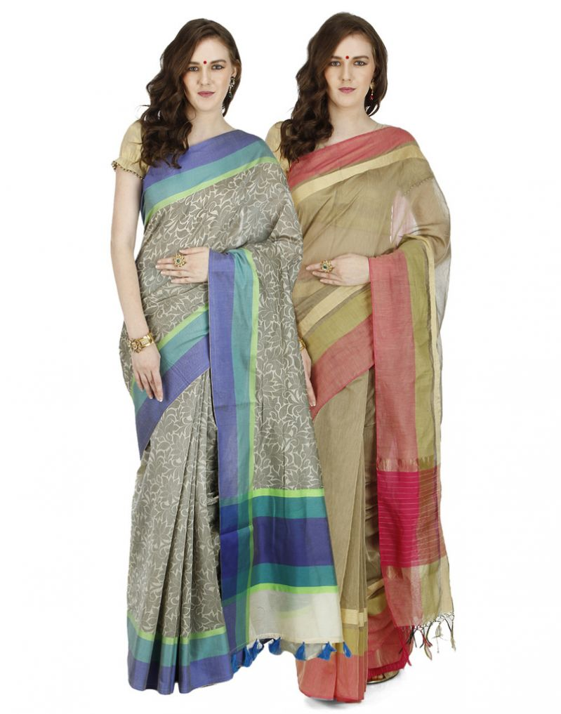 Buy Banarasi Silk Works Party Wear Designer Multi Colour Combo Saree For Women's(bsw1316_1046) online