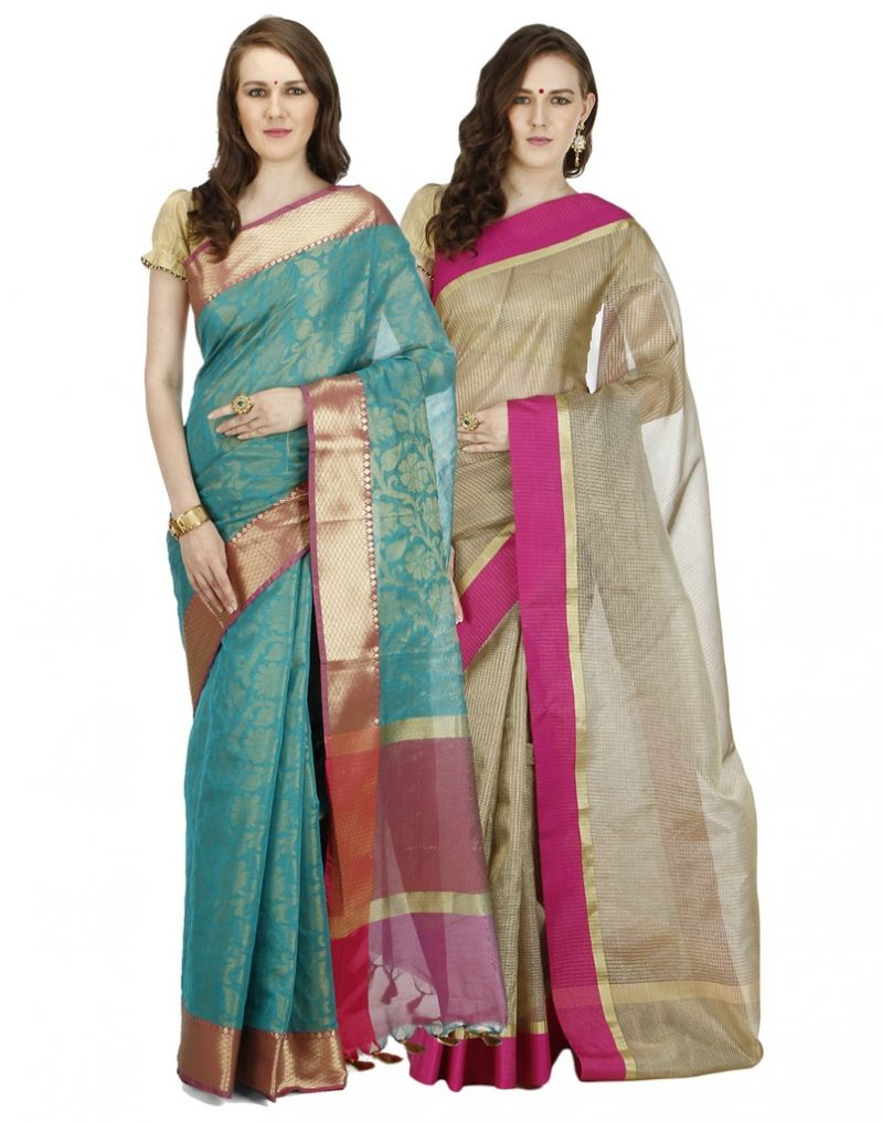 Buy Banarasi Silk Works Party Wear Designer Multi Colour Combo Saree For Women's(bsw1310_1059) online